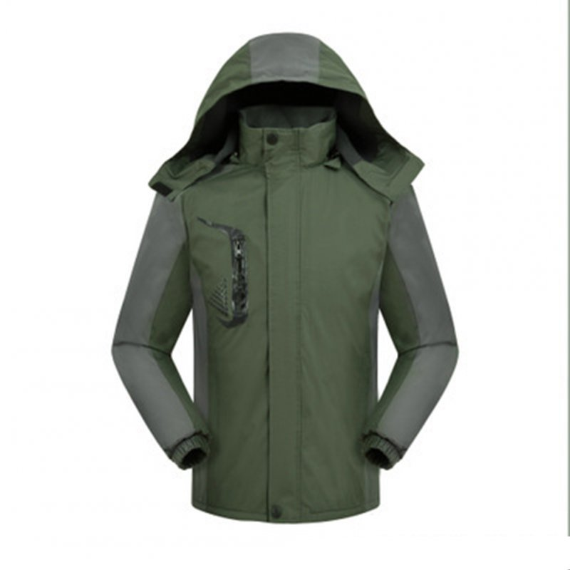 Men's and Women's Jackets Winter Velvet Thickening Windproof and Rainproof Mountaineering Clothes olive Green_L