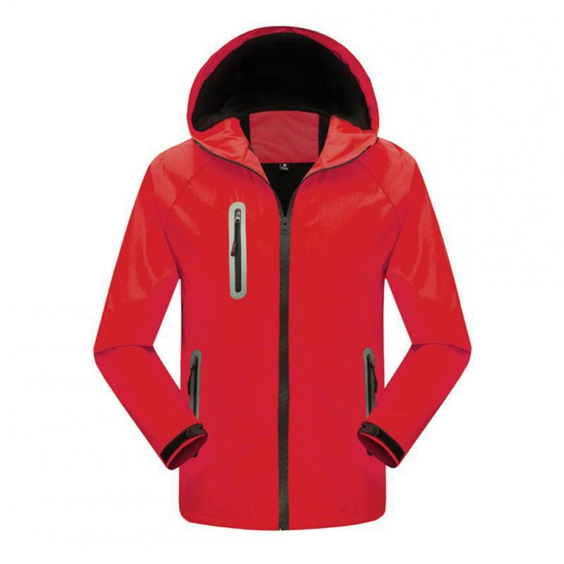Men's and Women's Jackets Autumn and Winter Outdoor Reflective Waterproof and Breathable  Jackets red_M