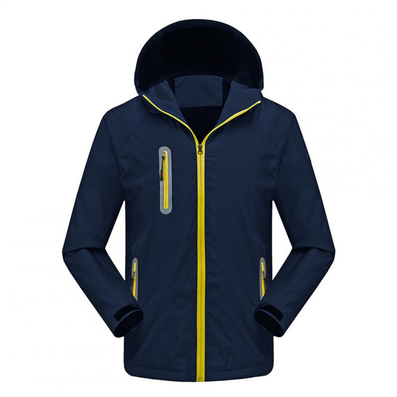 Men's and Women's Jackets Autumn and Winter Outdoor Reflective Waterproof and Breathable  Jackets Navy_XXXL