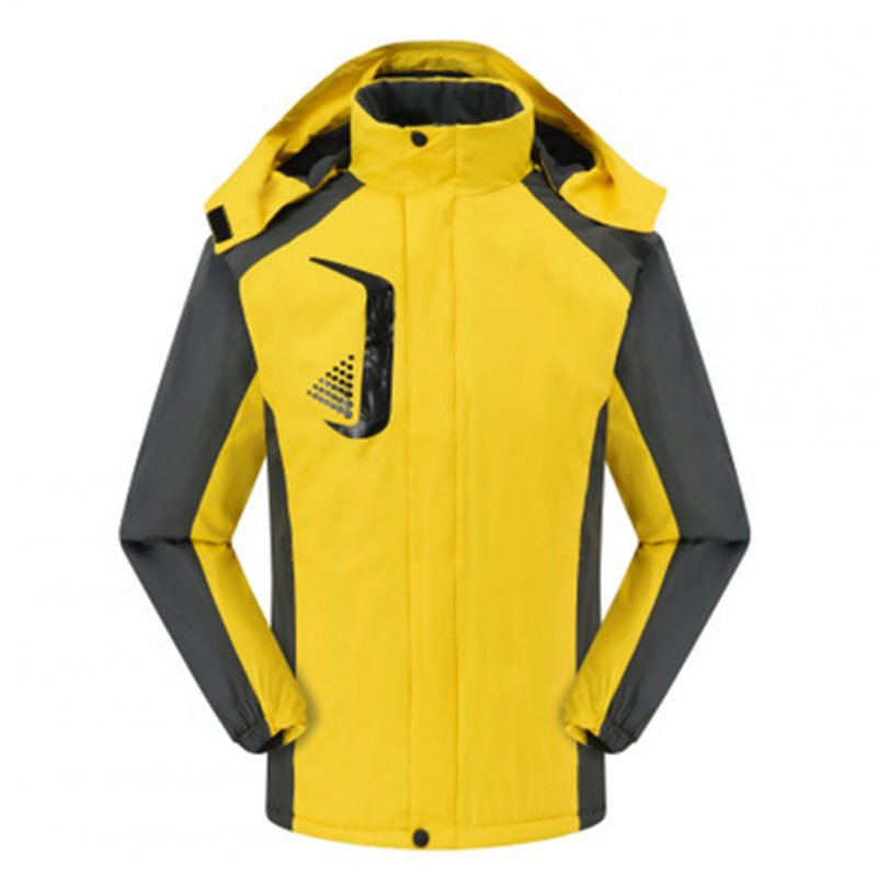 Men's and Women's Jackets Winter Velvet Thickening Windproof and Rainproof Mountaineering Clothes yellow_M