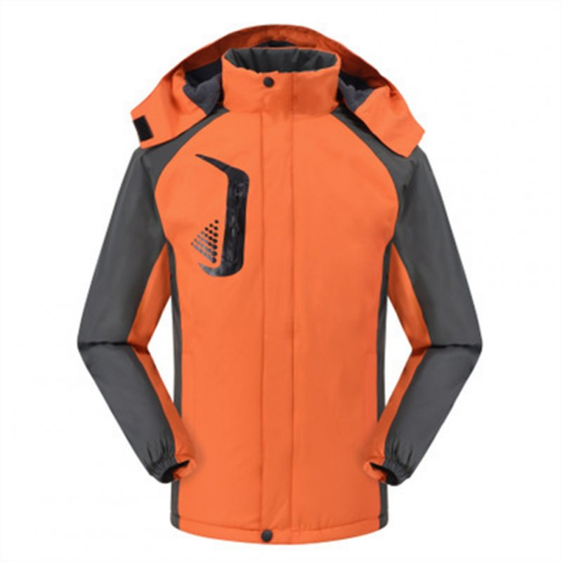 Men's and Women's Jackets Winter Velvet Thickening Windproof and Rainproof Mountaineering Clothes Orange_XXL