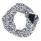 Men s and Women s Scarf Printed Storage Zipper Pockets Scarves black Above 175cm