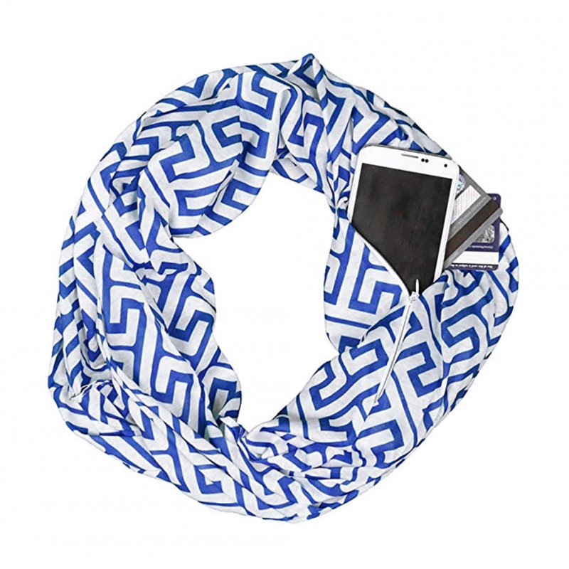 Men's and Women's Scarf Printed Storage Zipper Pockets Scarves blue_Above 175cm