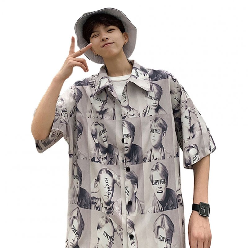 Men's and Women's Shirt Floral Short-sleeve Retro Style Printing Hawaiian Beach Shirt C64#boy_XL