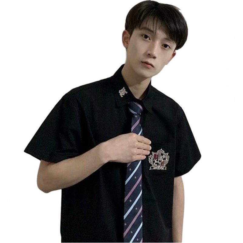 Men's and Women's Shirt Embroidery Short-sleeve Uniform Shirts with Tie Black _L