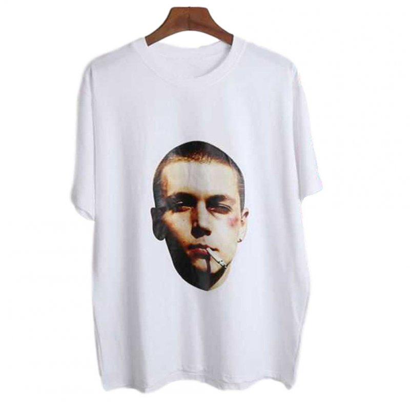 Men's and Women's T-shirt Retro Style Printing Pattern Short-sleeve T-shirts White _XL