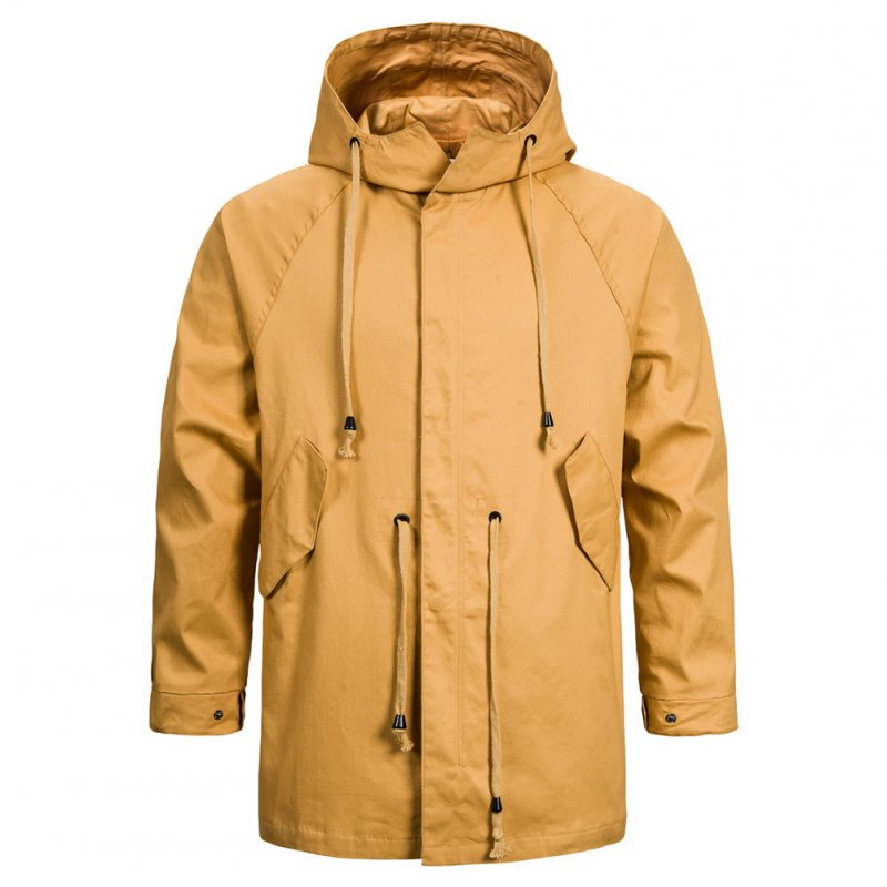 Men's jacket Long-sleeve solid color outdoor  FitType hooded jacket  Khaki _L
