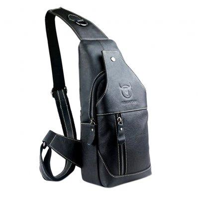 Mens Genuine Leather Sling Bag Single Shoulder Bag Men Chest Crossbody  Satchel Waist Pack
