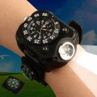 Mens Wrist Watch 3in1 with Super Bright LED Flashlight and Compass  Outdoor Sports Rechargeable   Waterproof