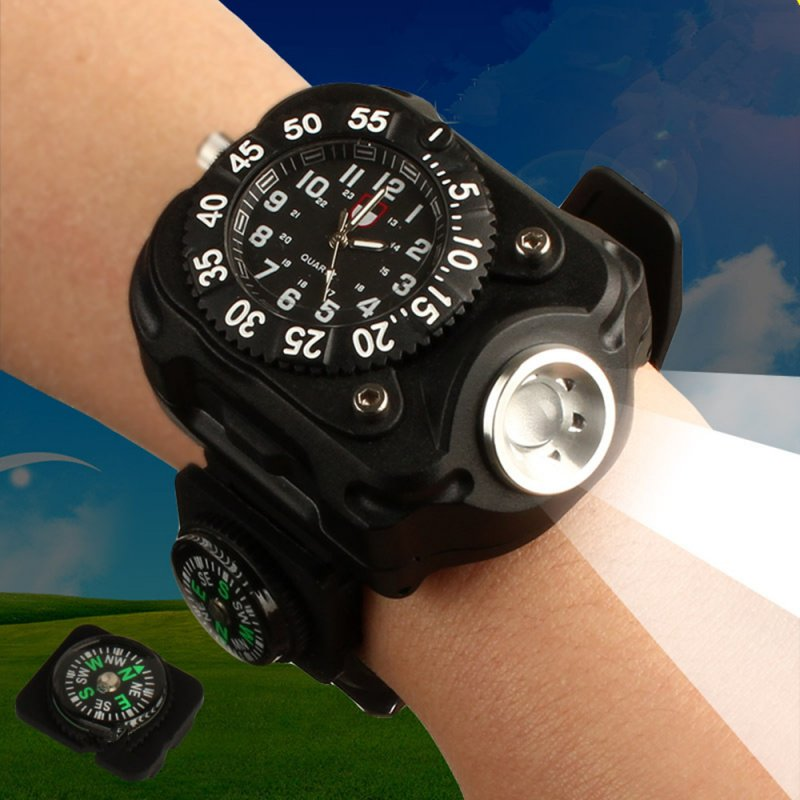 Wrist Watch w. LED Flashlight and Compass
