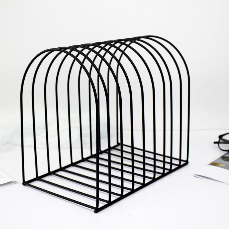 Metal Bookshelf Stand Book Standing Document File Desktop Manager Holder black_small