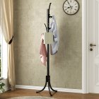Metal Coat Rack Living Room Hat Clothing Display Stand with Multi Hooks 43.5*37.7*177cm black