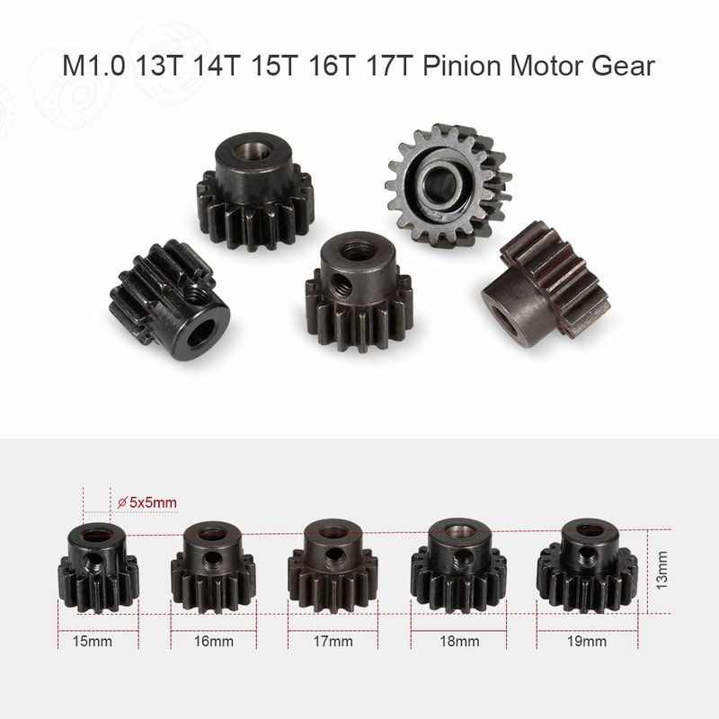 Metal Pinion Motor Gear for RC Car 1/8 RC Buggy Car Truck Motor Gears RC Car Part ZD Racing 25DP M1.0 13T 14T 15T 16T 17T  Gear set (5)