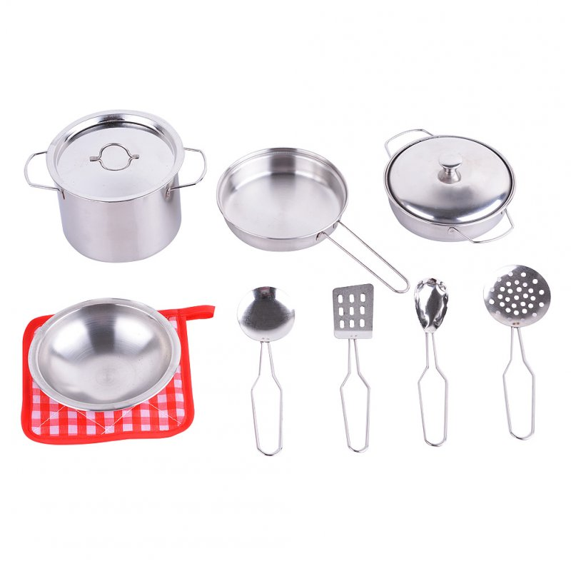 [US Direct] Metal Pots and Pans Kitchen Cookware Playset for Kids with Cooking Utensils Set