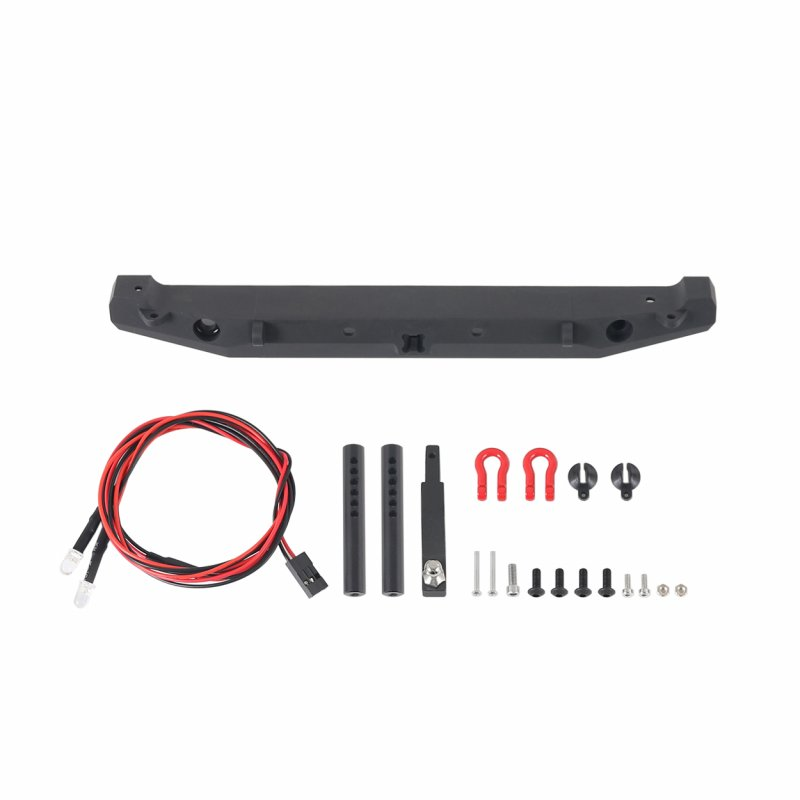 Metal Rear Bumper W/ LEDS Hitch Shackles For TRAXXAS TRX4 Axial SCX10II 90046 RC Car black