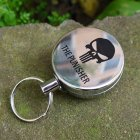 Metal Retractable Pull Key Chain Lanyard Tag Card Badge Holder Reel Recoil Belt Clip Skull type 4 cm diameter