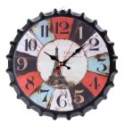 Metal Retro Bottle Cap Mute Wall Clock  Beer Bottle Cover Wall Clock Home Decoration Self provided 1 AA Battery style 1