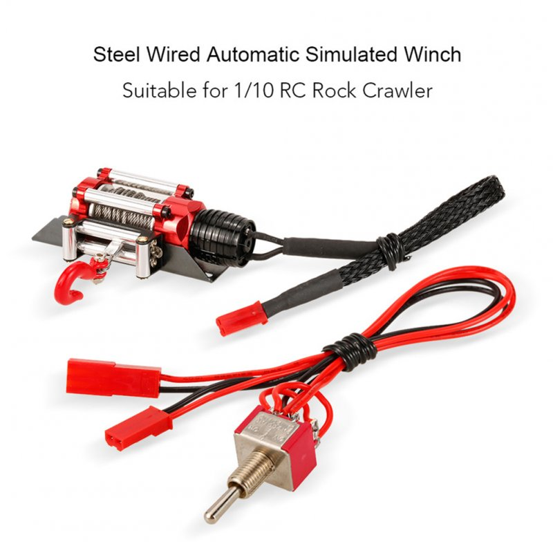Metal Steel Wired Automatic Simulated Winch Toy for 1/10 Traxxas HSP Redcat HPI TAMIYA Axial SCX10 RC4WD D90 RC Car red