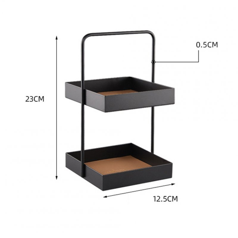 Metal Storage Tray Storage Tray Double Layer Leather Pad Sundry Sorting Tray As shown_Square small