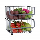 Metal Wire Basket with Wheel for Kitchen Bedroom Bathroom Fruit Vegetable Storage 2 layers