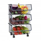 Metal Wire Basket with Wheel for Kitchen Bedroom Bathroom Fruit Vegetable Storage 3 layers