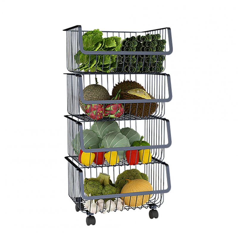 Metal Wire Basket with Wheel for Kitchen Bedroom Bathroom Fruit Vegetable Storage 4layers