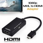 Micro USB to HDMI HDTV Adapter 1080P HD Audio Video Output Converter Compatible for Android Smart Phones & Tablets with MHL Function black