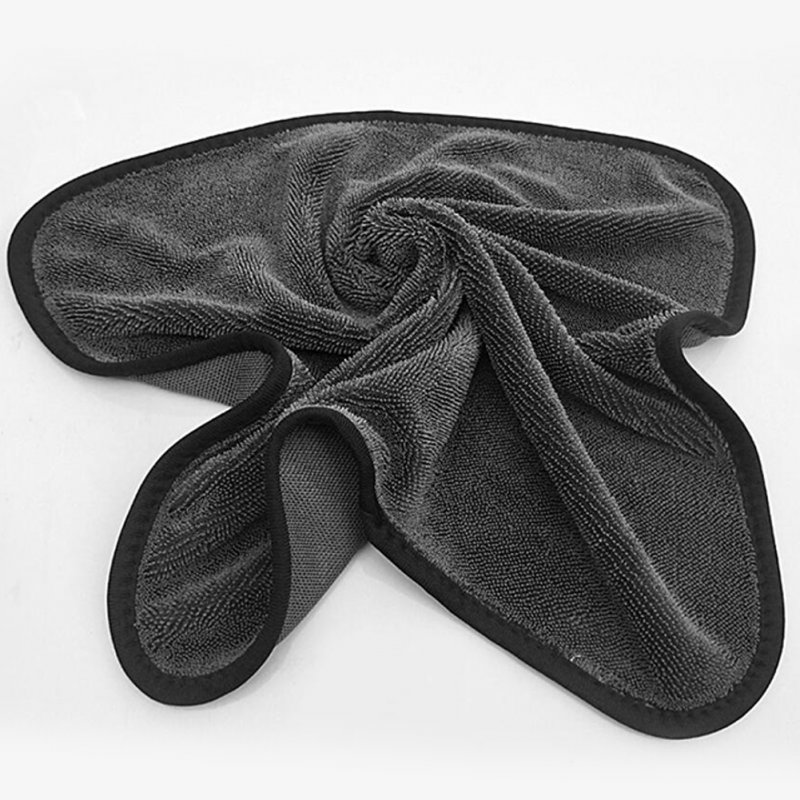 Microfiber Twist Car Wash Towel Professional Car Cleaning Drying Cloth Towels for Cars Washing Black_60 * 90CM