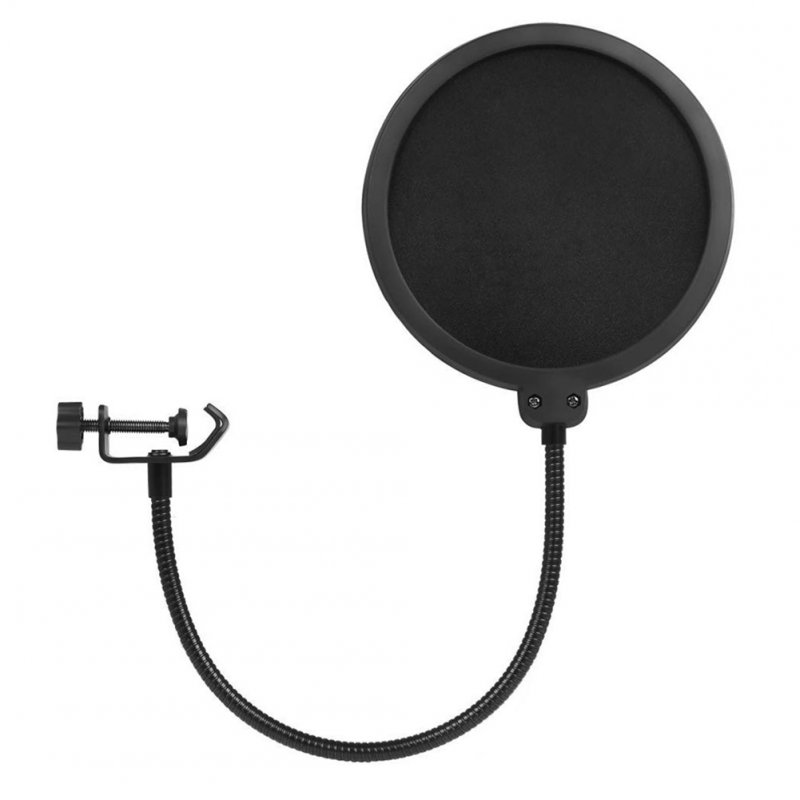 Microphone Pop Filter Double Layered Sound Shield Swivel 360° Flexible Gooseneck Clip for Recording Broadcasting black