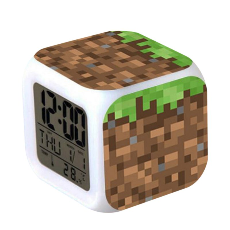 Minecraft Alarm Clock with LED Light Game Action Toy Home Decor 002