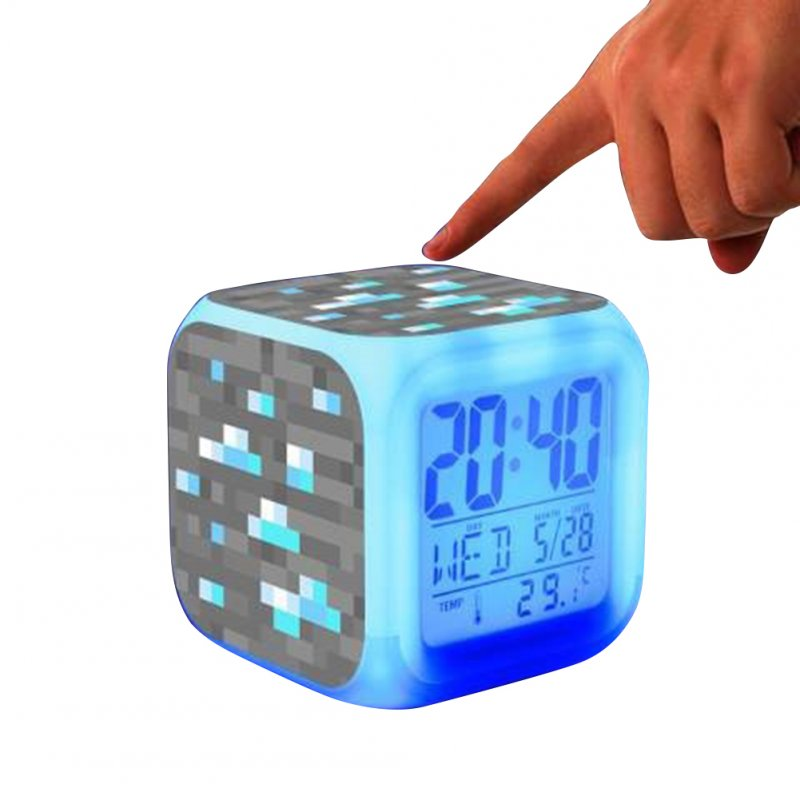 Minecraft Alarm Clock with LED Light Game Action Toy Home Decor 003