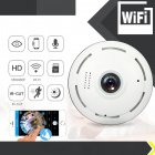 Mini 360 Degree Fisheye Panorama Camera Night Vision Wireless Home Security Surveillance Camera white