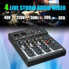 Mini 4 Channel Karaoke Audio Mixer Amplifier Professional Microphone Mixing Sound Console with 48V Power Black US plug