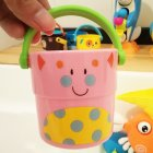 Mini Bath bucket Toy Small Bucket Miniature Dollhouse Accessories Simulation Pail Model Toys pink kitten