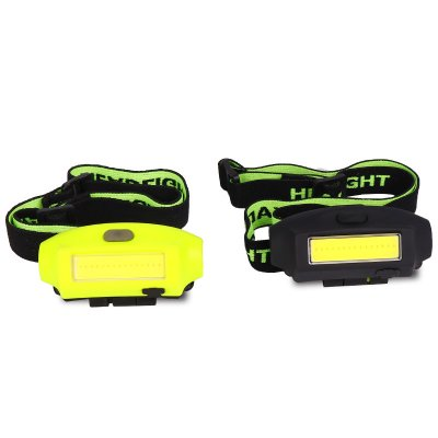 Mini COB LED Headlamp USB Charging Head Flashlight for Outdoor Camping Fluorescent green_Model 2050
