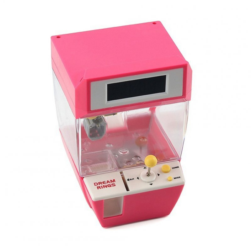 Mini Candy Grabber Catcher Crane Lazy Person Alarm Clock Machine Arcade Sanwa Practical Board Games Pink
