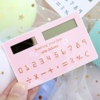 Mini Card Solar Calculator 8-Digit Cartoon Cute Portable Student Calculator Random Color Random Color