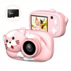 Mini Cartoon Kids Digital Camera 26MP 1080P Video Camera Camcorder 2.4 Inch IPS Screen Dual Camera Lens Shockproof for Children Cream pink cat