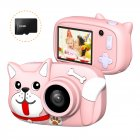Mini Cartoon Kids Digital Camera 26MP 1080P Video Camera Camcorder 2.4 Inch IPS Screen Dual Camera Lens Shockproof for Children Misty Pink Dog