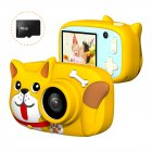 Mini Cartoon Kids Digital Camera 26MP 1080P Video Camera Camcorder 2.4 Inch IPS Screen Dual Camera Lens Shockproof for Children Crescent yellow dog
