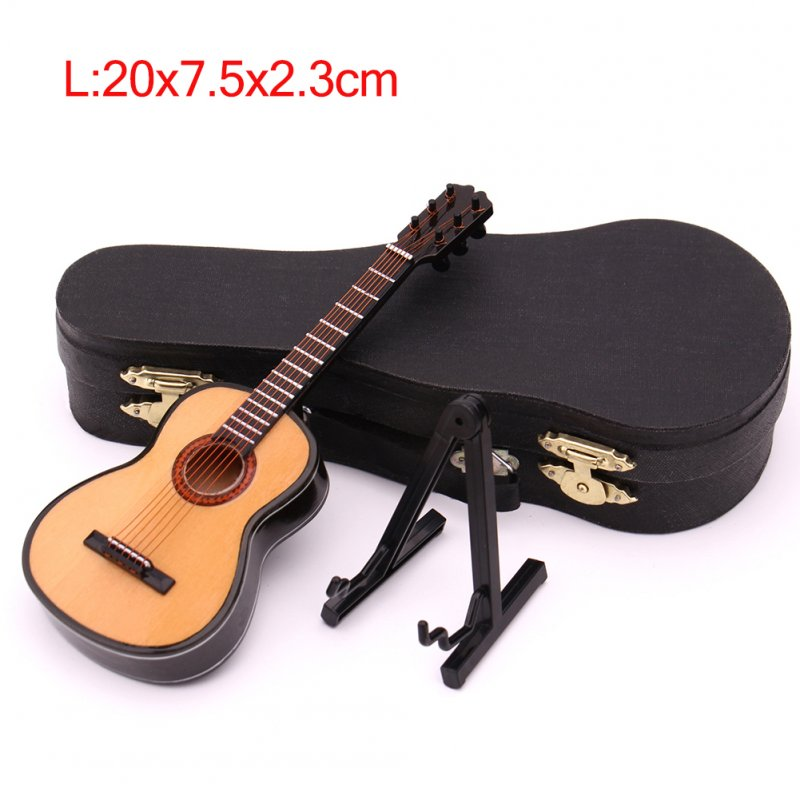 Mini Classical Guitar Miniature Model Wooden Mini Musical Instrument Model with Case Stand L: 20CM_Classical guitar wood color