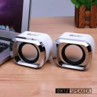 Mini Computer Speakers USB AUX Jack 3.5mm PC Desktop Laptop Stereo Wired Sound Subwoofer white