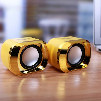 Mini Computer Speakers USB AUX Jack 3.5mm PC Desktop Laptop Stereo Wired Sound Subwoofer Gold