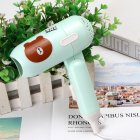 Mini Folding Cartoon Hair Dryer Small Power Portable Traveling Hair Dryer  Green bear