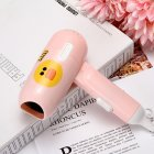 Mini Folding Cartoon Hair Dryer Small Power Portable Traveling Hair Dryer  Pink duckling