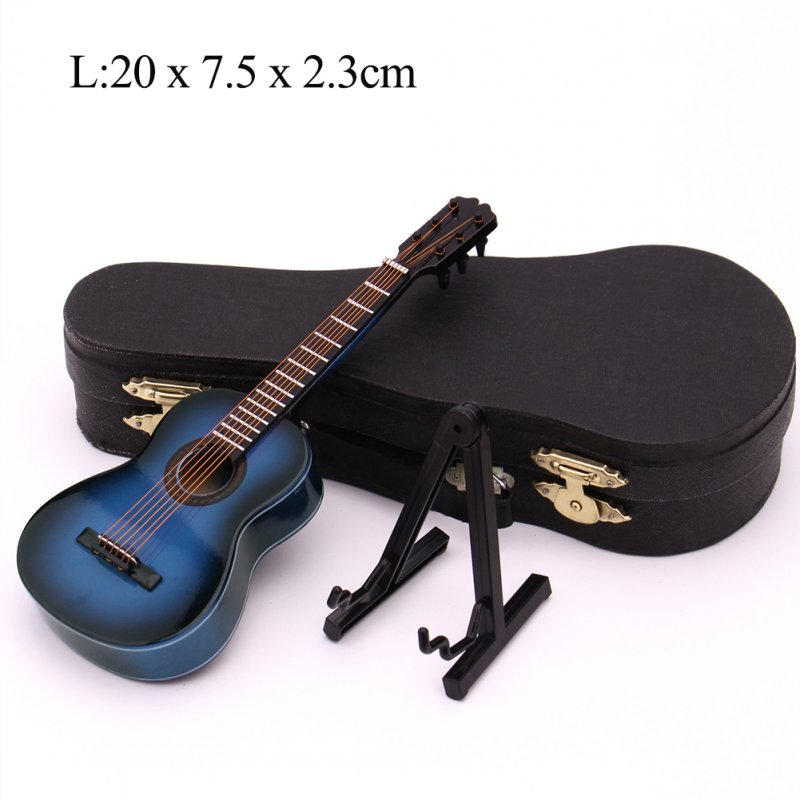 Mini Guitar Miniature Model Classical Guitar Miniature Wooden Mini Musical Instrument Model Collection L: 20cm_Classical guitar blue