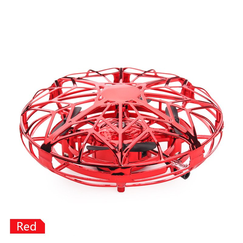 Mini Hand Operated Induction Drones UFO Quadrotor red