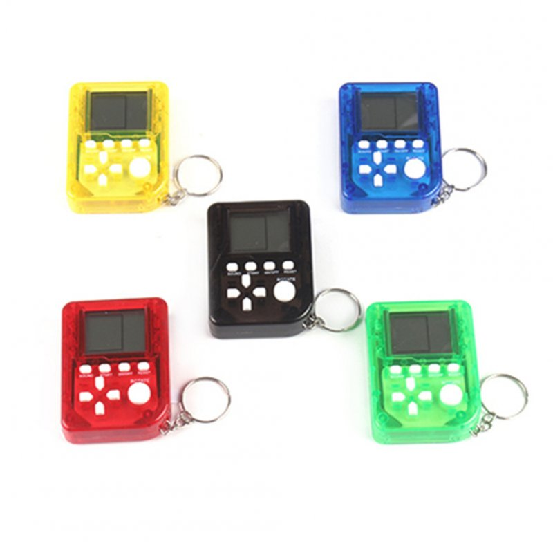 Mini Handheld Electronic Tetris Game Machine Pocket Stress Relief Toy Keychain Random Color Transparent 5 colors random