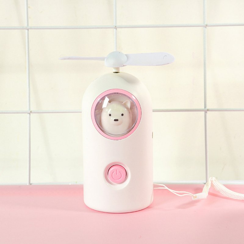 Mini Handheld Fan Cartoon Portable USB Charging with Night Light for Home Office Travel B-white_11 * 4.7cm