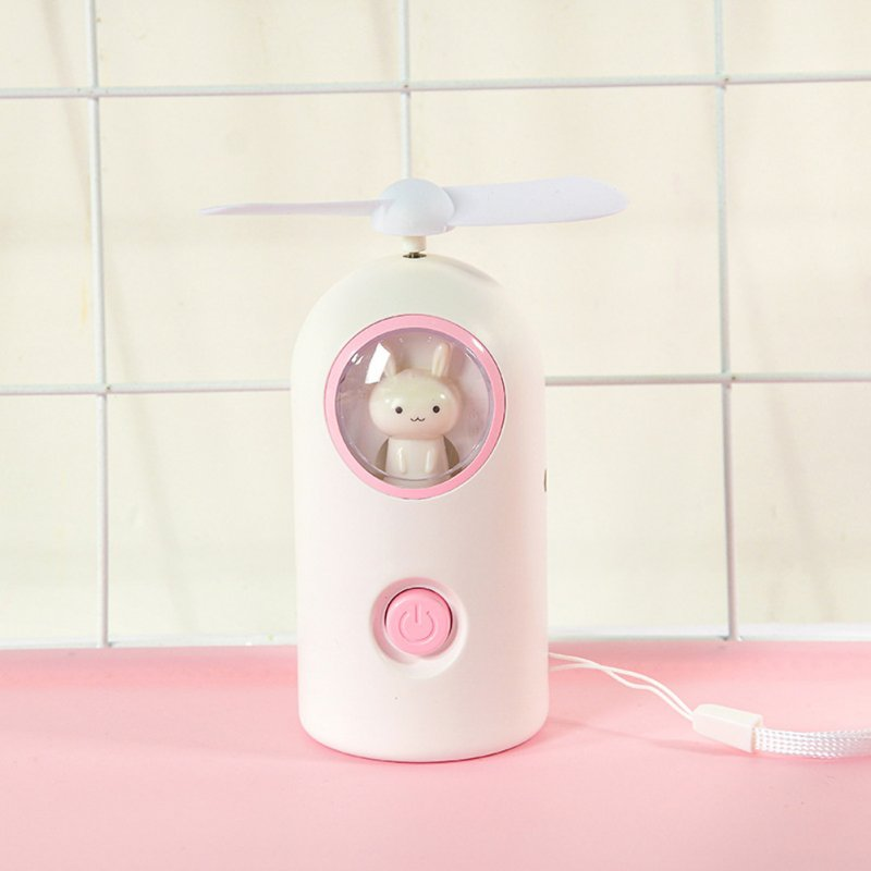 Mini Handheld Fan Cartoon Portable USB Charging with Night Light for Home Office Travel A-white_11 * 4.7cm